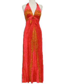 1960's Womens Designer Halter Sun Dress