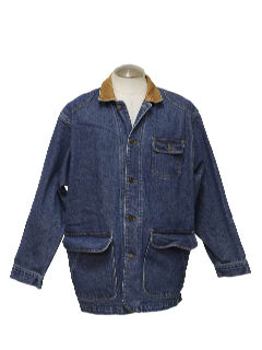 1980's Mens Denim Car Coat Style Jacket