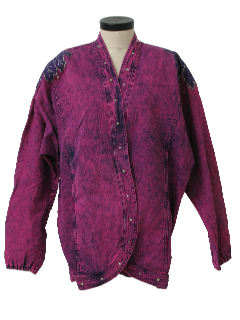 1980's Womens Totally 80s or Wicked 90s Oversized Denim Acid Washed Overdyed Purple Jacket