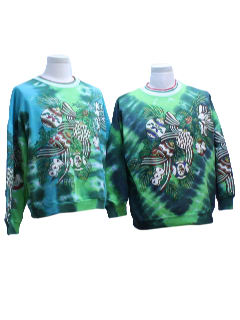 1980's Unisex Matching Set of Two Ugly Christmas Tie-Dyed Sweatshirts