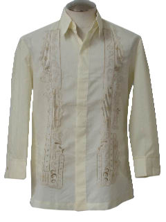 1970's Mens Guayabera Inspired Hippie Shirt