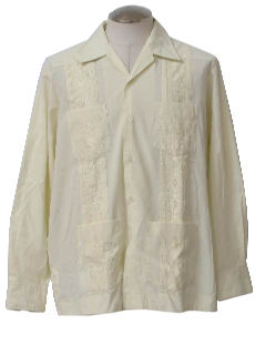 1980's Mens Longsleeve Guayabera Shirt