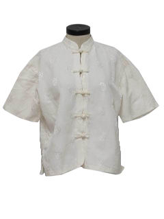 1970's Womens Cheongsam Inspired Asian Style Shirt