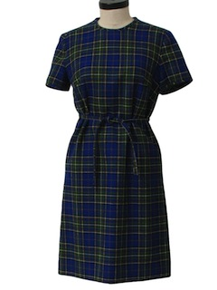 1970's Womens A-Line Wool Pendleton Mod Dress