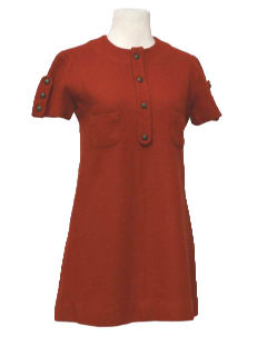1960's Womens Mod A-Line Wool Mini Dress