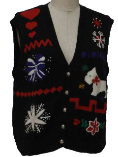 1990's Womens Kitschy Ugly Snowflake Sweater Vest