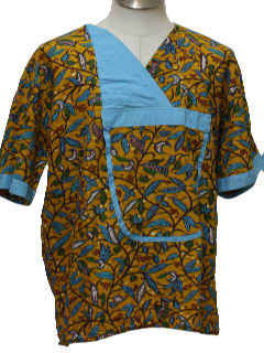 1980's Womens Ethnic Hippie Smock Shirt