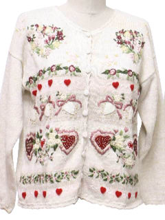 1990's Womens Cheesy Ugly Kitschy Valentines Sweater