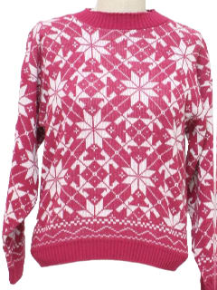 1980's Womens Totally 80s Snowflake Ski Sweater
