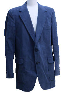 1970's Mens Blue Faux Suede Blazer Style Sport Coat Jacket