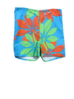 1970's Mens Mod Hawaiian Board Shorts