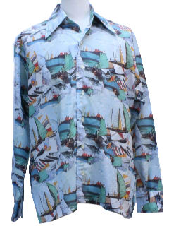 1970's Mens Sailing Theme Photo Print Disco Shirt