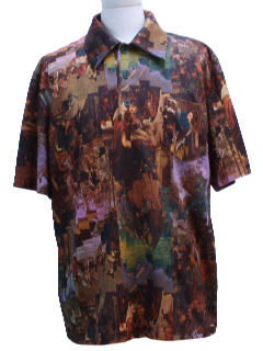 1970's Mens Photo Print Disco Style Sport Shirt