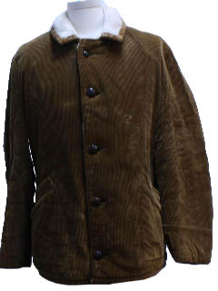 1980's Mens Corduroy Car Coat Jacket