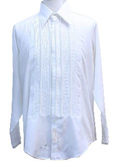 1970's Mens Pleated Tuxedo Shirt