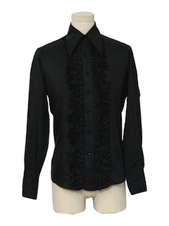 1990's Mens Ruffled Tuxedo Shirt