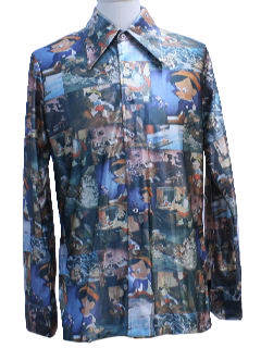 1970's Mens Photo Print Disney Disco Shirt