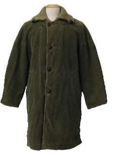 1960's Mens Corduroy Overcoat Style Car Coat Jacket