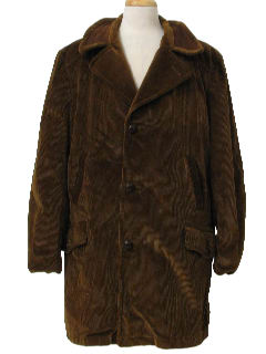 1970's Mens Corduroy Trench Style Car Coat Jacket