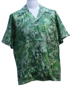 1950's Mens Photo Print Hawaiian Shirt