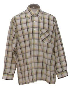 1990's Mens Wicked 90s Plaid Sport Shirt