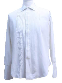 1960's Mens Mod Pleated Tuxedo Shirt