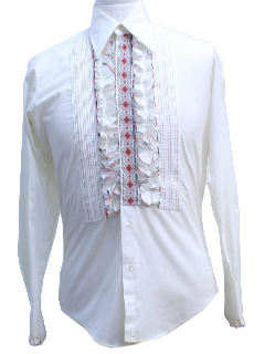 1970's Mens Ruffled and Pleated Tuxedo Shirt