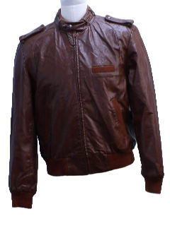 1980's Mens Totally 80s Members Only Style Leather Jacket