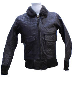 1960's Mens A2 Style Leather Bomber Jacket