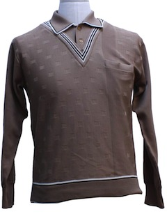1970's Mens Designer Mod Knit Shirt