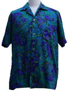 1960's Mens Mod Paisley Pow-Flower Hawaiian Shirt