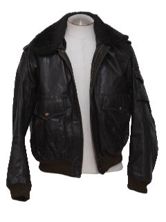 1970's Mens Leather Bomber Jacket