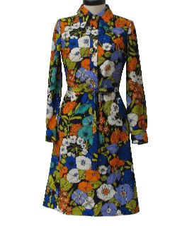 1970's Womens Pow-Flower Mod Knit House Dress