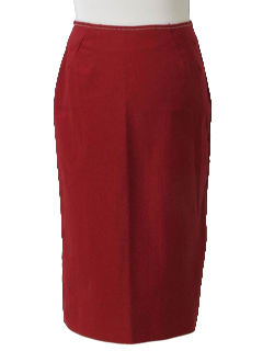 1960's Womens Christmas Red Mod Pencil Skirt