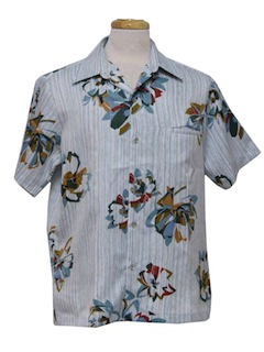 1970's Mens Hawaiian Style Print Disco Shirt