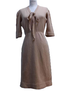 1950's Womens Designer Wool New Look Sheath Dress