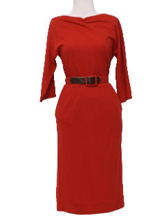 1950's Womens Designer Wool New Look Wiggle Sheath Dress