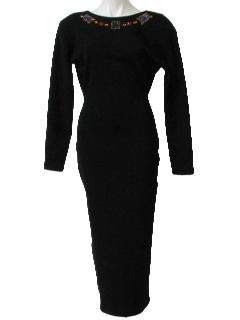 1980's Womens Designer Totally 80s Wool Sheath Wiggle Dress