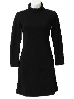 1960's Womens Mod Knit Little Black Dress