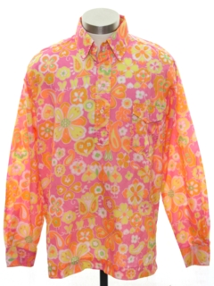 1970's Mens Mod Pow-Flower Ski Shirt