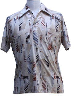 1970's Mens Print Disco Style Resort Shirt