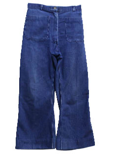 1970's Womens Navy Denim Bellbottom Jeans Pants