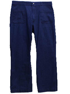 1970's Mens Navy Denim Bellbottom Style Flared Jeans Pants