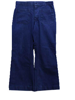 1970's Mens Navy Denim Bellbottom Jeans Pants