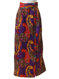1970's Womens Hippie Quilted Maxi Skirt