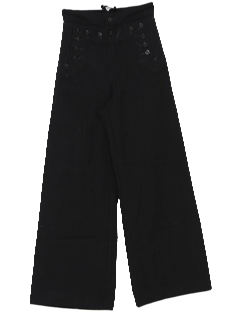 1980's Unisex Wool Navy Bellbottom Pants