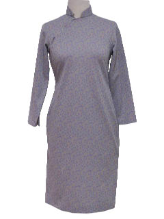 1970's Womens Cheongsam Knit Dress