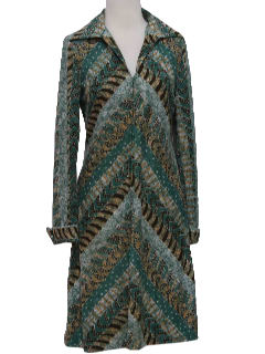 1970's Womens Print Cotton Blend Dress