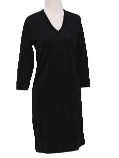 1970's Womens Knit Little Black Dress