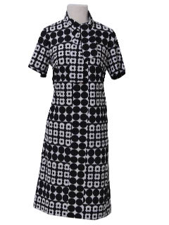 1970's Womens Op-Art Mod Knit Dress